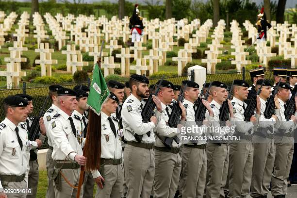 French soldiers attend a ceremony marking the 100th anniversary of the Chemin des Dames battle on April 16 2017 in CernyenLaonnois north eastern...
