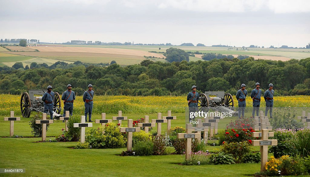 French soldiers attend a commemoration event during the 100th anniversary of the beginning of the Battle of the Somme at the Thiepval memorial to the Missing on July 1, 2016 in Thiepval, France. The event is part of the Commemoration of the Centenary of the Battle of the Somme at the Commonwealth War Graves Commission Thiepval Memorial in Thiepval, France, where 70,000 British and Commonwealth soldiers with no known grave are commemorated.