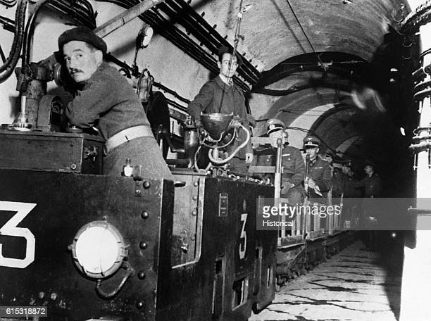 French soldiers conduct German officers on a tour of the Maginot Line | Location Maginot Line France
