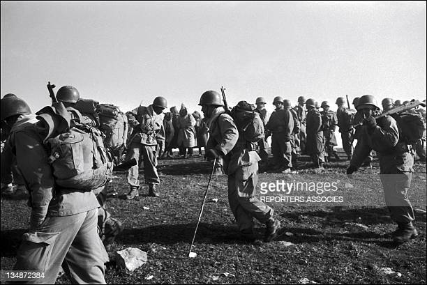 French soldiers during 'Operation Bigeard' in March 1956 when an armed outbreak in SoukAhras South of Constantine region Algeria led to the killing...