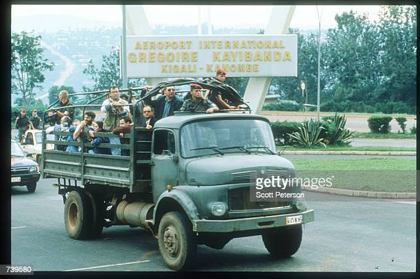 French soldiers evacuate civilians April 11 1994 from Kigali Rwanda The majority of French and Belgian nationals living in Rwanda have decided to...