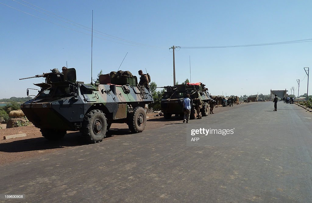 French soldiers from the 21st Rima (French Navy Infantry Regiment) arrive in armoured vehicules to secure the strategic bridge on the Niger river on January 16, 2013 after leaving the capital Bamako the day beforeon the Niger river on January 16, 2013 near the town of Markala. French soldiers from the 21st Rima (French Navy Infantry Regiment) arrived in the town to secure the strategic bridge on the Niger river on January 16, 2013 after leaving the capital Bamako the day before. After days of airstrikes on Islamist positions in the northern territory the rebels seized in April, French and Malian troops battled the insurgents in the small town of Diabaly, some 400 kilometres (250 miles) north of Bamako.