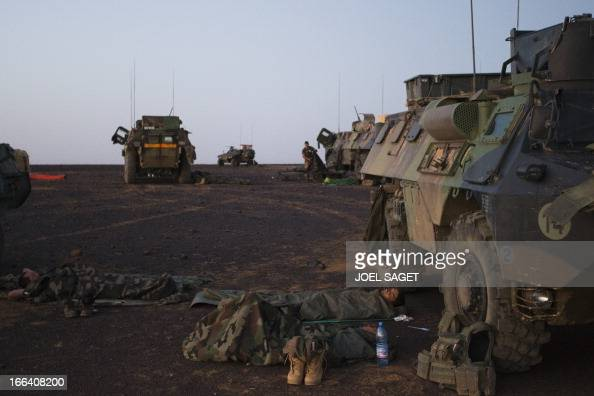 French soldiers from the 92 RI wake up early on April 8 2013 some 105 kilometers North of Gao during the Gustav operation in Mali Operation Gustav...