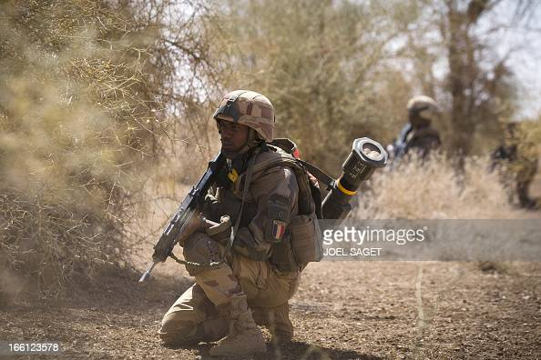 French soldiers from the 92nd Regiment Infantery take part in a military operation on April 8 2013 some 105 kilometers North of Gao A French force of...