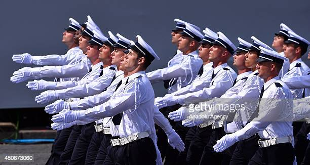 French soldiers march during annual Bastille Day military parade in the Republic Day on the Champs Elysees in Paris France on July 14 2015 Mexican...