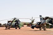 French soldiers of Barkhane counterterrorism operation in Africa's Sahel region attend France Prime Minister Manuel Valls and France Defense Minister...