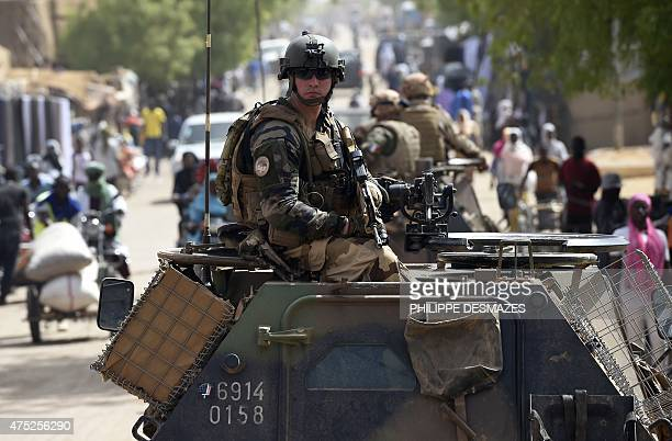 French soldiers of Operation Barkhane an antiterrorist operation in the Sahel patrol in armoured vehicle in Gao northern Mali on May 30 2015 Based in...