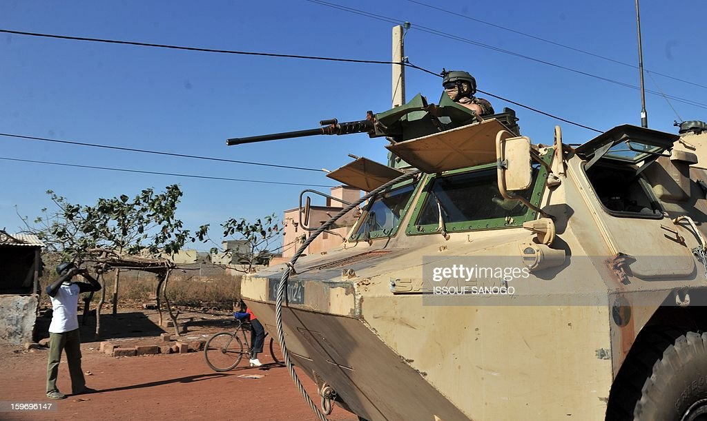 French soldiers patrol in an armoured vehicle on January 18, 2013 near Segou. France confirmed today that Malian troops had taken control of the key central town of Konna from armed Islamists who seized the country's vast desert north in April last year