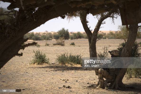 A French soldiers rests during the Operation Gustav a hunt for Islamist fighters in a valley in northern Mali and one of France's largest military...