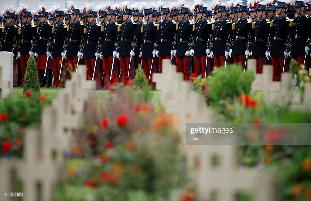 French soldiers stand in line during the 100th anniversary of the beginning of the Battle of the Somme at the Thiepval memorial to the Missing on July 1, 2016 in Thiepval, France. The event is part of the Commemoration of the Centenary of the Battle of the Somme at the Commonwealth War Graves Commission Thiepval Memorial in Thiepval, France, where 70,000 British and Commonwealth soldiers with no known grave are commemorated.