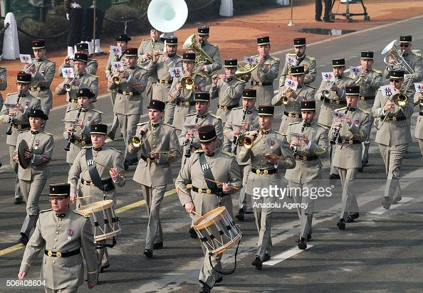 French soldiers take part in the full dress rehearsal as President of France Francois Hollande will be the chief guest for the upcoming Indian...
