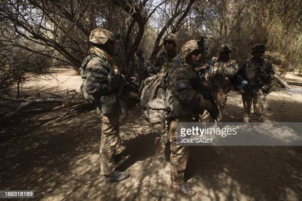 French soldiers take part on April 10 105 kms north of the northeastern Malian city of Gao in day three of Operation Gustav a hunt for Islamist...