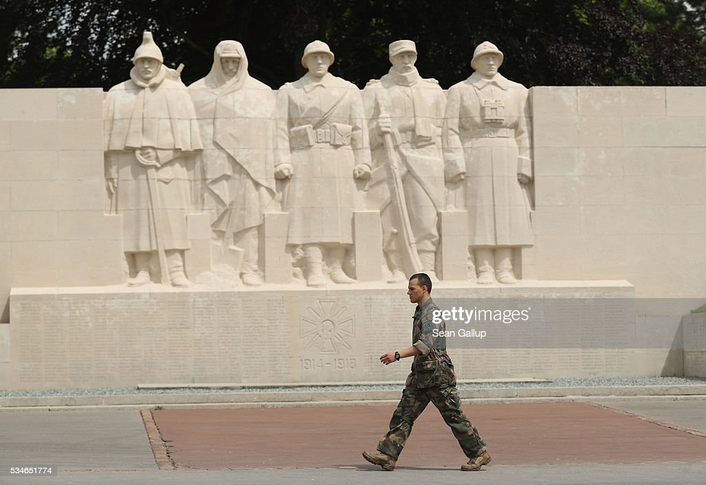 A French soldiers walks past a monument to French soldiers killed in the World War I Battle of Verdun on May 27, 2016 in Verdun, France. The governments of France and Germany will commemorate the 100th anniversary of the battle with ceremonies this coming Sunday. Approximately 300,000 soldiers lost their lives in the 10-month campaign that was among the most grueling battles of the war.