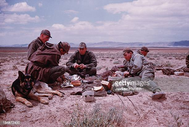 French soldiers with a dog eating during an operation in the interior of Algeria in 1961 during the Algerian war
