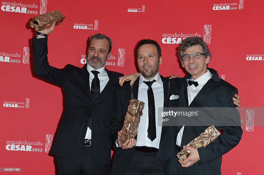 French sound editor Antoine Deflandre, French sound editor Germain Boulay, French sound editor Eric Tisserand pose with their trophies after receiving the Best Sound Editing award for French director Florent-Emilio Siri's film 'Cloclo' during a photocall at the 38th Cesar Awards ceremony on February 22, 2013 at the Chatelet theatre in Paris. AFP PHOTO / MIGUEL MEDINA