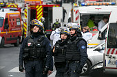 French special forces are seen on 'Rue de la Republique' on November 18 2015 in SaintDenis France French Police special forces raided an apartment...