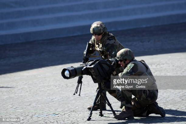 French Special Military soldiers on duty during the annual Bastille Day militaryon July 14 2017 in Paris France Members of the US Marine Forces 1st...