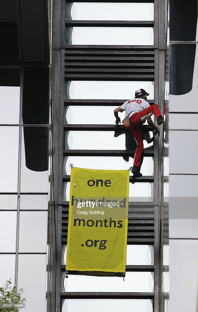 'French Spiderman' <a gi-track='captionPersonalityLinkClicked' href=/galleries/search?phrase=Alain+Robert+-+Climber&family=editorial&specificpeople=769748 ng-click='$event.stopPropagation()'>Alain Robert</a> climbs 57-storey Lumiere building on August 30, 2010 in Sydney, Australia. Robert, who has scaled more than 85 structures around the world, successfully climbed the Lumiere building in 25 minutes.