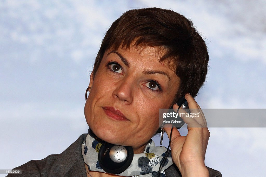 French Sports Minister <a gi-track='captionPersonalityLinkClicked' href=/galleries/search?phrase=Chantal+Jouanno&family=editorial&specificpeople=5673060 ng-click='$event.stopPropagation()'>Chantal Jouanno</a> listens to a reporter's question during a press conference after the briefing for IOC members at the Olympic Museum on May 18, 2011 in Lausanne, Switzerland. The Candidate Cities for the 2018 Olympic Winter Games of Munich (Germany), Annecy (France) and PyeongChang (South Korea), will present the briefing with the technical aspects of their bids, while IOC members will be able to question each bidding city. The final decision will be announced on July 6, 2011 at the IOC Session scheduled to be held in Durban, South Africa.