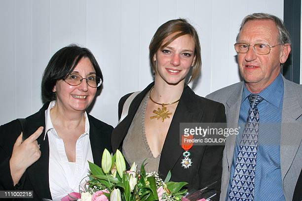 French sports minister Jean Francois Lamour awards the Legion Honour medal to Virginie Dedieu in Paris France on April 11th 2007 Virginie Dedieu and...