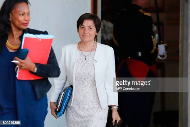 French Sports Minister Laura Flessel and French Overseas Minister Annick Girardin leave the Elysee Palace in Paris after the weekly cabinet meeting...