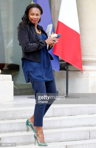 French Sports Minister Laura Flessel leaves the Elysee Presidential Palace after a weekly cabinet meeting on june 28 2017 in Paris France On...