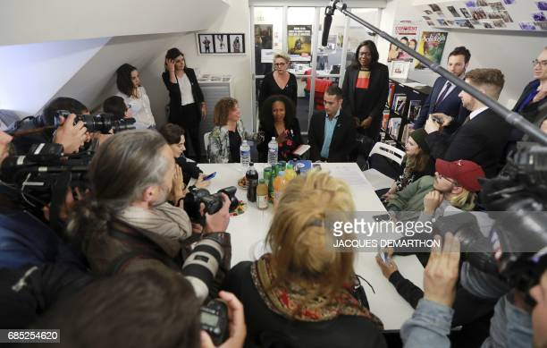 French Sports Minister Laura Flessel meets with Nicolas Noguier the president and founder of The Refuge association on May 19 2017 in Paris during a...