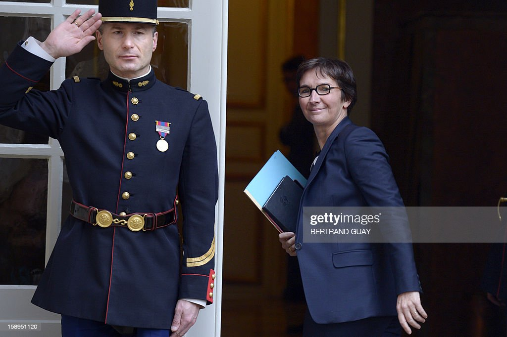 French Sports minister Valerie Fourneyron arrives to take part in a government seminar focusing on the government's agenda for the coming year on January 4, 2013 at the Hotel Matignon in Paris.