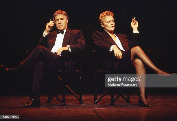 French standup comedians Muriel Robin and Guy Bedos on stage at the Olympia concert hall in Paris
