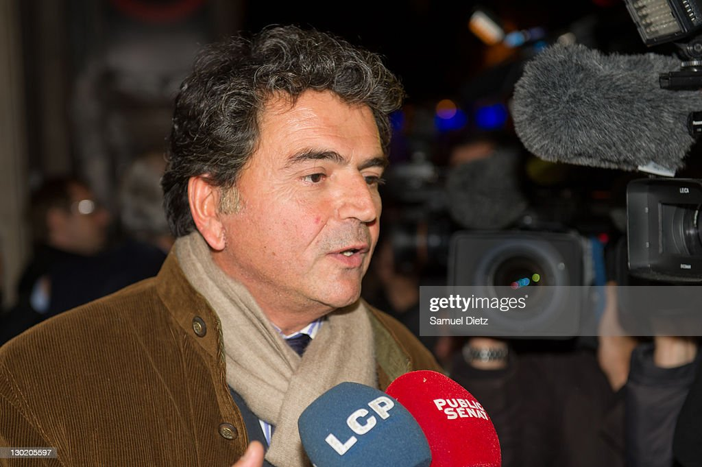 French State Secretary of Foreign Trade <a gi-track='captionPersonalityLinkClicked' href=/galleries/search?phrase=Pierre+Lellouche&family=editorial&specificpeople=710423 ng-click='$event.stopPropagation()'>Pierre Lellouche</a> addresses the media at UMP headquarters for a Parisians Representatives meeting on October 24, 2011 in Paris, France. The meeting was held to discuss the victory of the Left at the French Senate and the political crisis in the Right Party.
