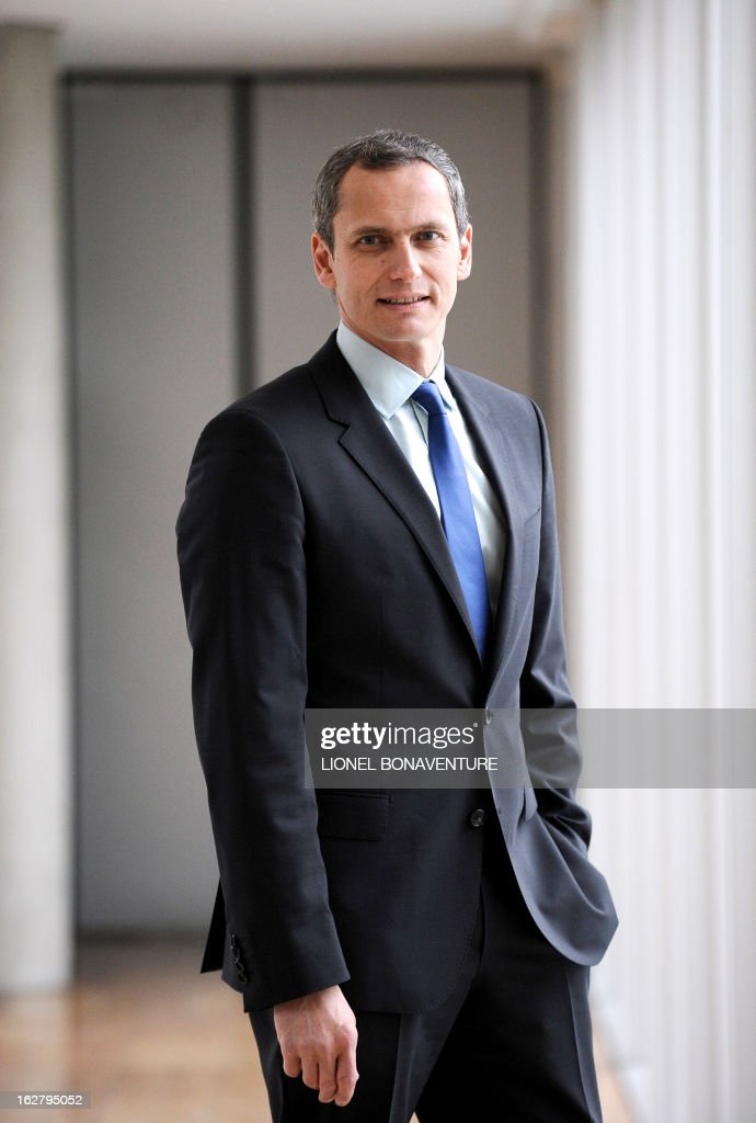 French state-run 'France 3' television channel's journalist and TV host, Louis Laforge poses on February 27, 2013 at the 'France Televisions' group's headquarters in Paris.