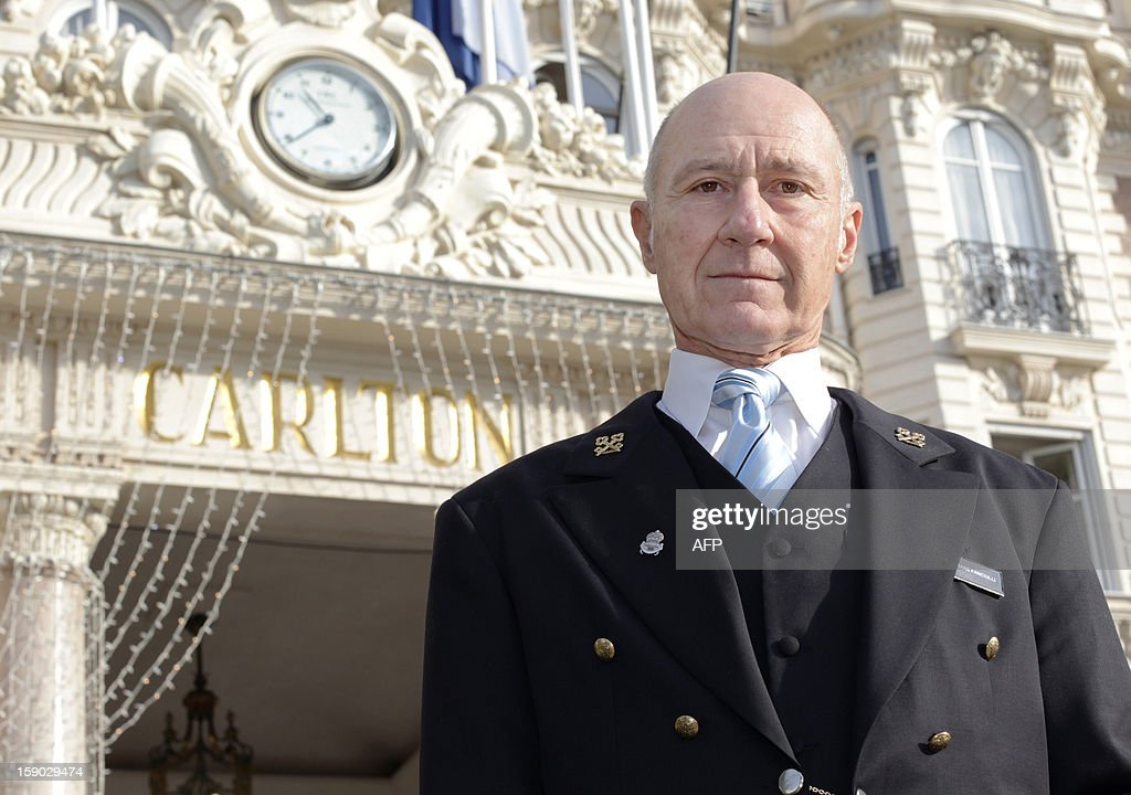 French Stephane Fanciulli, chief concierge of the Intercontinental Carlton Hotel, poses at the entrance of the hotel on January 4, 2013 in Cannes, southeastern France.