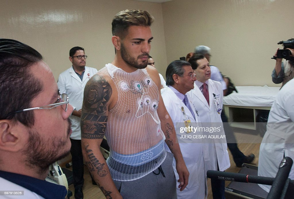 French striker Andy Delort undergoes medical tests for Mexican team Tigres at the University Hospital of the city of Monterrey in Nuevo Leon Mexico...
