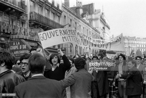 French strikers shout slogans as they take part in the big demonstration called by the CGT and CFDT unions in Paris 29 May 1968 during the May 1968...