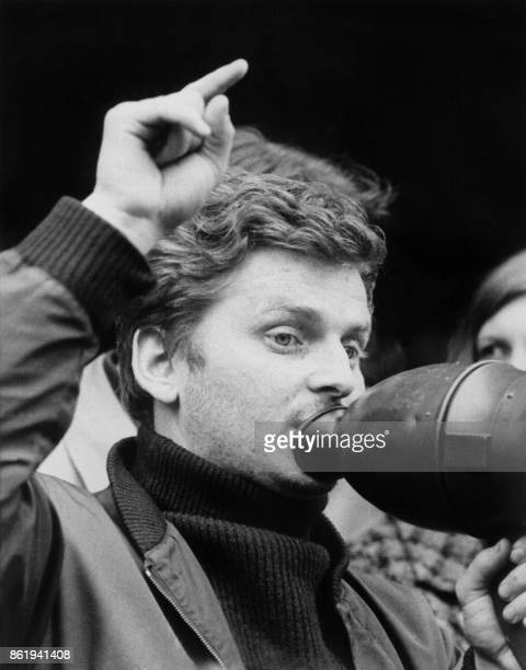 French student leader Daniel CohnBendit and German demonstrators hold a protest at the FrenchGerman border 25 May 1968 in Forbach after being...