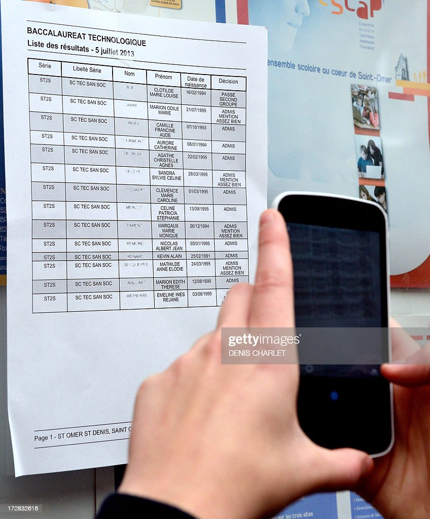 A French student takes a photo with his smartphone of the results of the technological baccalaureat exam (high school graduation exam), on July 5, 2013 at the Saint-Denis high school in Saint-Omer, northern France. Some 665.000 candidates for the baccalaureat 2013, whatever is their sector, general, technological or professional, are going to know today if they are straight off received, stuck or convened to the catching up. AFP PHOTO / DENIS CHARLET