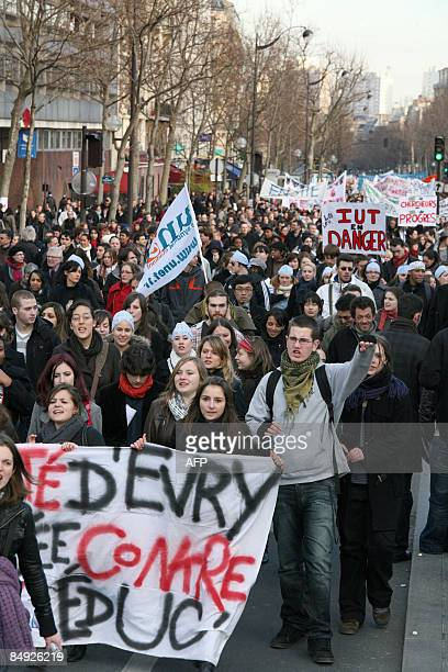French students and teachers demonstrate on February 19 2009 in Paris as part of a nationwide protest to denounce a government decree reforming the...