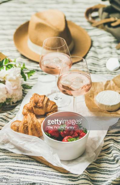 French style summer picnic setting, outdoor gathering concept, vertical composition