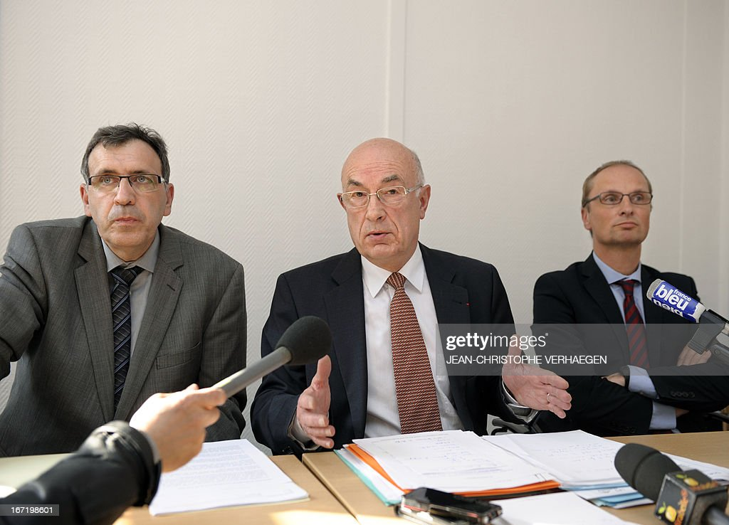 French sub-Prefect of Moselle, eastern France, in charge of the implementation of an agreement with Steel giant group ArcelorMittal, Francois Marzorati (C) flanked by Henri-Pierre Orsoni (L), CEO of ArcelorMittal Atlantique (western France) and Lorraine (eastern France), and Chief Technology Officer for Flat Carbon Europe Carl de Mare, speaks during a press conference after they participated in a monitoring committee with unionists, on April 22, 2013 in Metz. ArcelorMittal pledged last week to suspend closures and job cuts in Europe pending the launch of a pan-Europe plan in June to save the struggling steel industry. The steel group's recent decisions to shutter plants in Belgium, Luxembourg and France triggered violent protests. VERHAEGEN