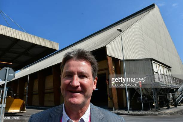 French sugar cooperative Cristal Union CEO Alain Commissaire poses at the SFIR Raffineria di Brindisi sugar refinery in Brindisi on March 15 2017...