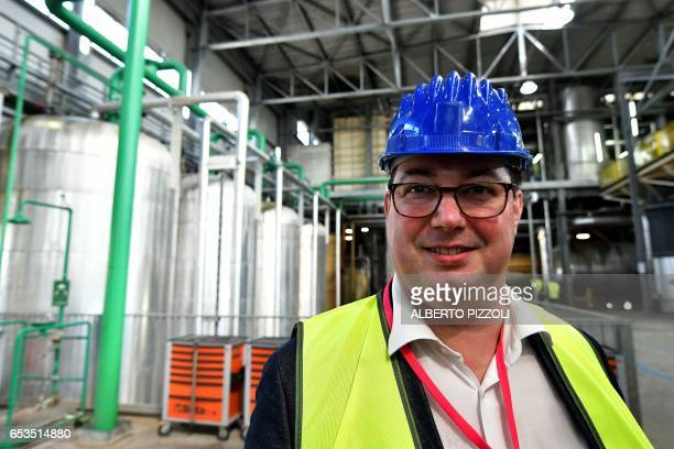French sugar cooperative Cristal Union's Deputy CEO Xavier Astolfi poses at the SFIR Raffineria di Brindisi sugar refinery in Brindisi on March 15...