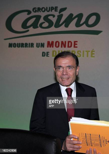French supermarket and retail group Casino Chairman and CEO JeanCharles Naouri poses after the presentation of the groupes 2012 results in Paris on...