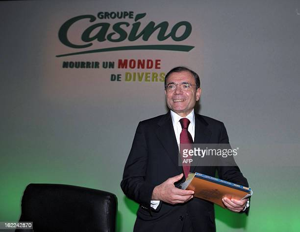 French supermarket and retail group Casino Chairman and CEO JeanCharles Naouri is pictured after presenting the group's 2012 results in Paris on...