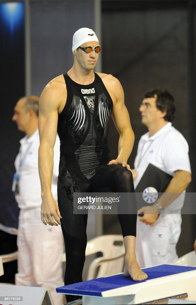 French swimmer <a gi-track='captionPersonalityLinkClicked' href=/galleries/search?phrase=Alain+Bernard+-+Nuotatore&family=editorial&specificpeople=775873 ng-click='$event.stopPropagation()'>Alain Bernard</a> concentrates prior to perform during the 100m freestyle series of the French swimming championship, on April 23, 2009, in Montpellier, southern France.