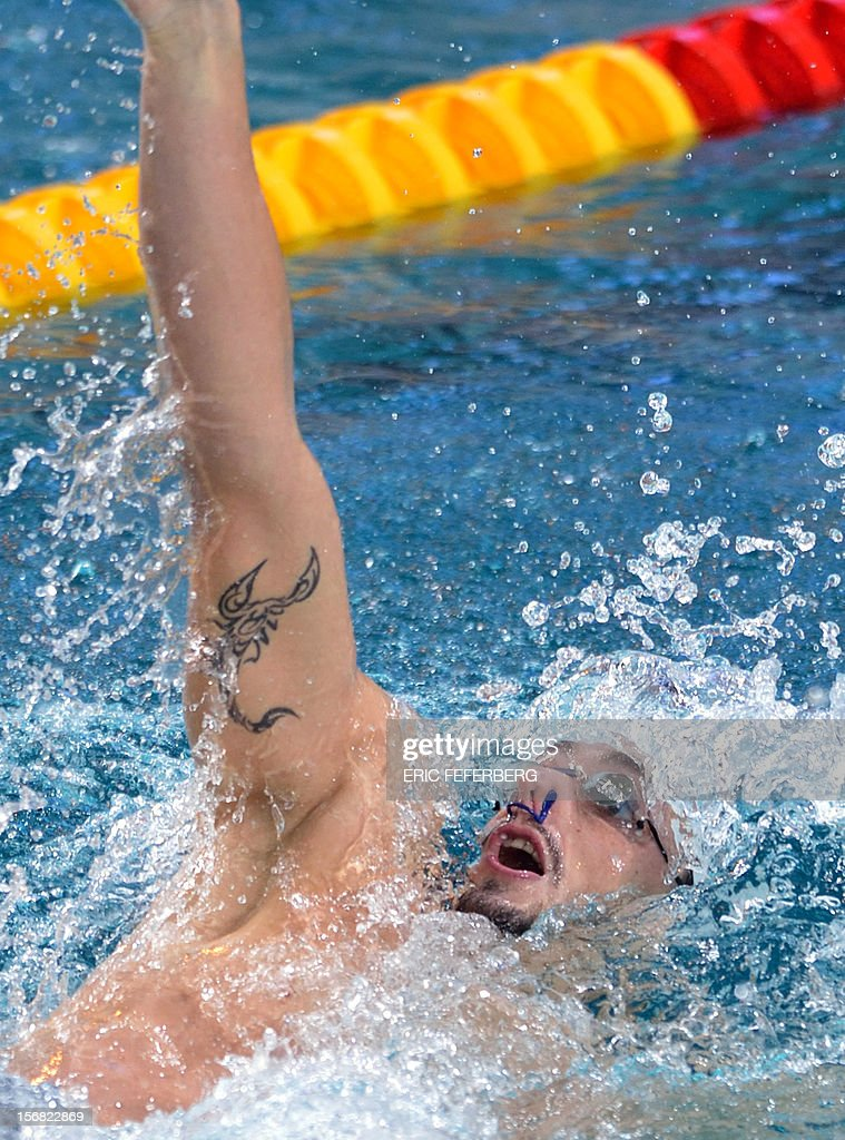 French swimmer Benjamin Stasuilis competes in the men's 200m backstroke heats at the European Short Course Swimming Championships on November 22, 2012 in Chartres.