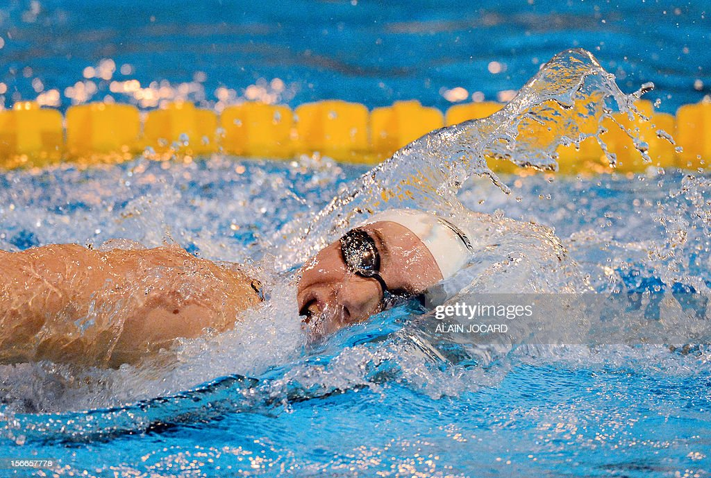 French swimmer Camille Muffat competes during her 200m freestyle final as part of the swimming French championships on November 18, 2012, in Angers, western France.