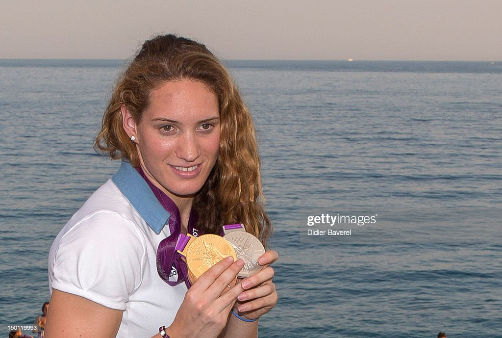 French Swimmer Camille Muffat poses in front of the Baie des Anges on August 10 2012 in Nice France
