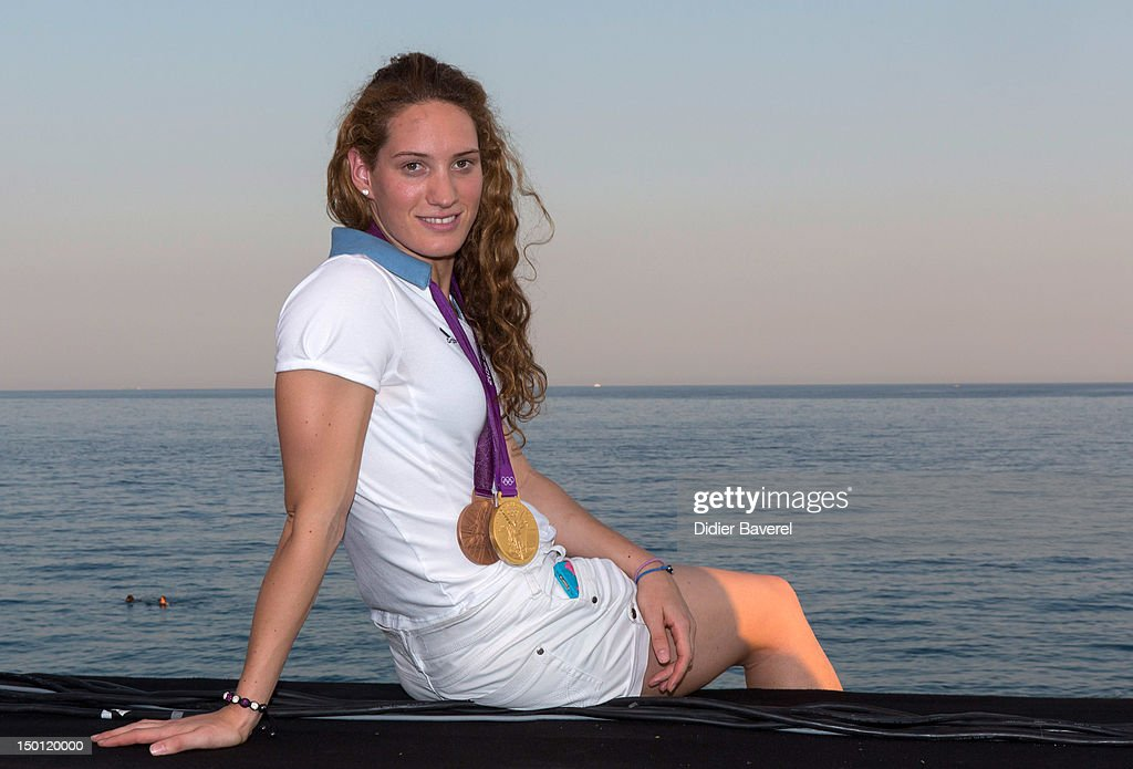 French Swimmer Camille Muffat poses in front of the Baie des Anges on August 10, 2012 in Nice, France.