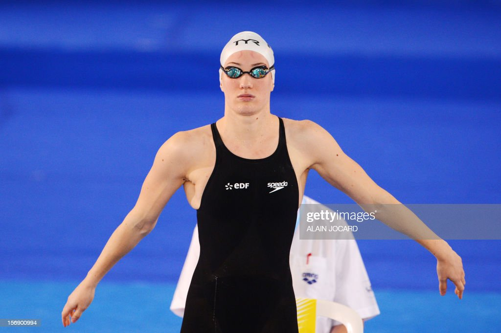 French swimmer Camille Muffat prepares to take the start of the women's 400m freestyle on November 24, 2012 at the European Swimming Championships in Chartres.