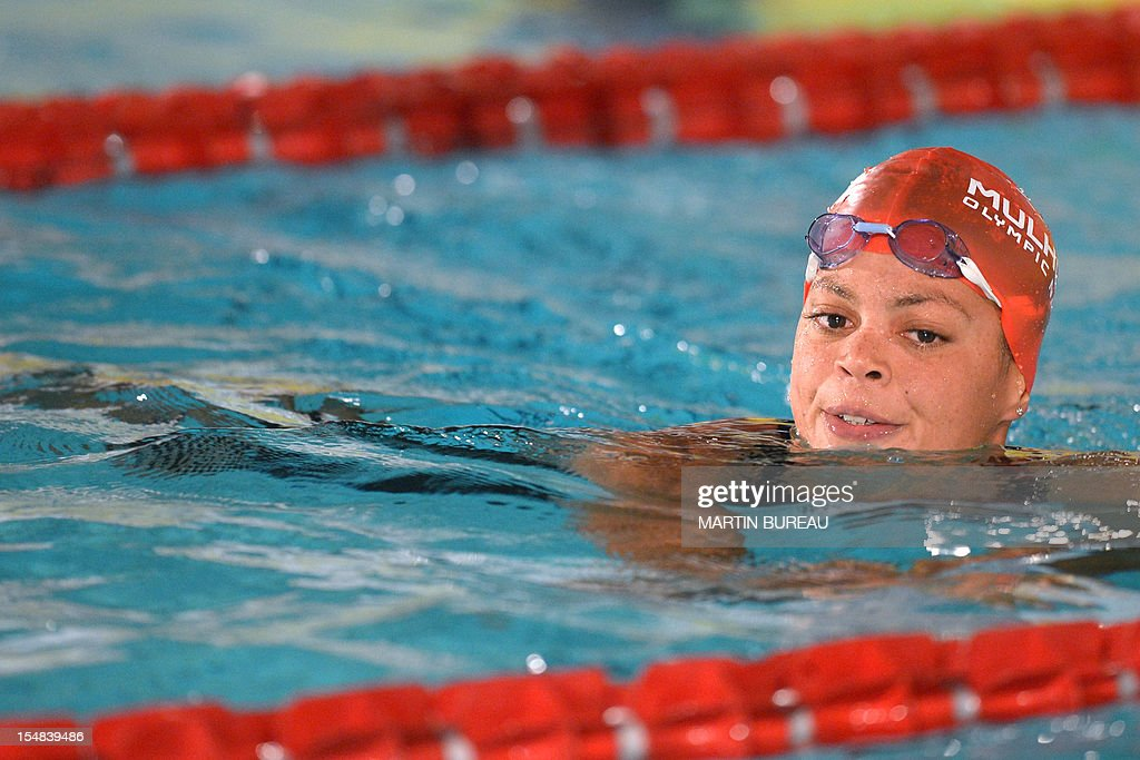 French swimmer Coralie Balmy attends the 2012 Autumn Swimming meeting on October 27, 2012 in Compiegne, north of Paris. AFP PHOTO MARTIN BUREAU
